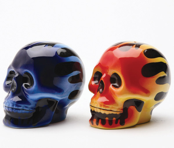 Pacific Trading Skull Flames Salt and Pepper Shaker Set