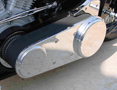 Joker Machine Smooth 3″ Open Primary Belt Guard for Softail