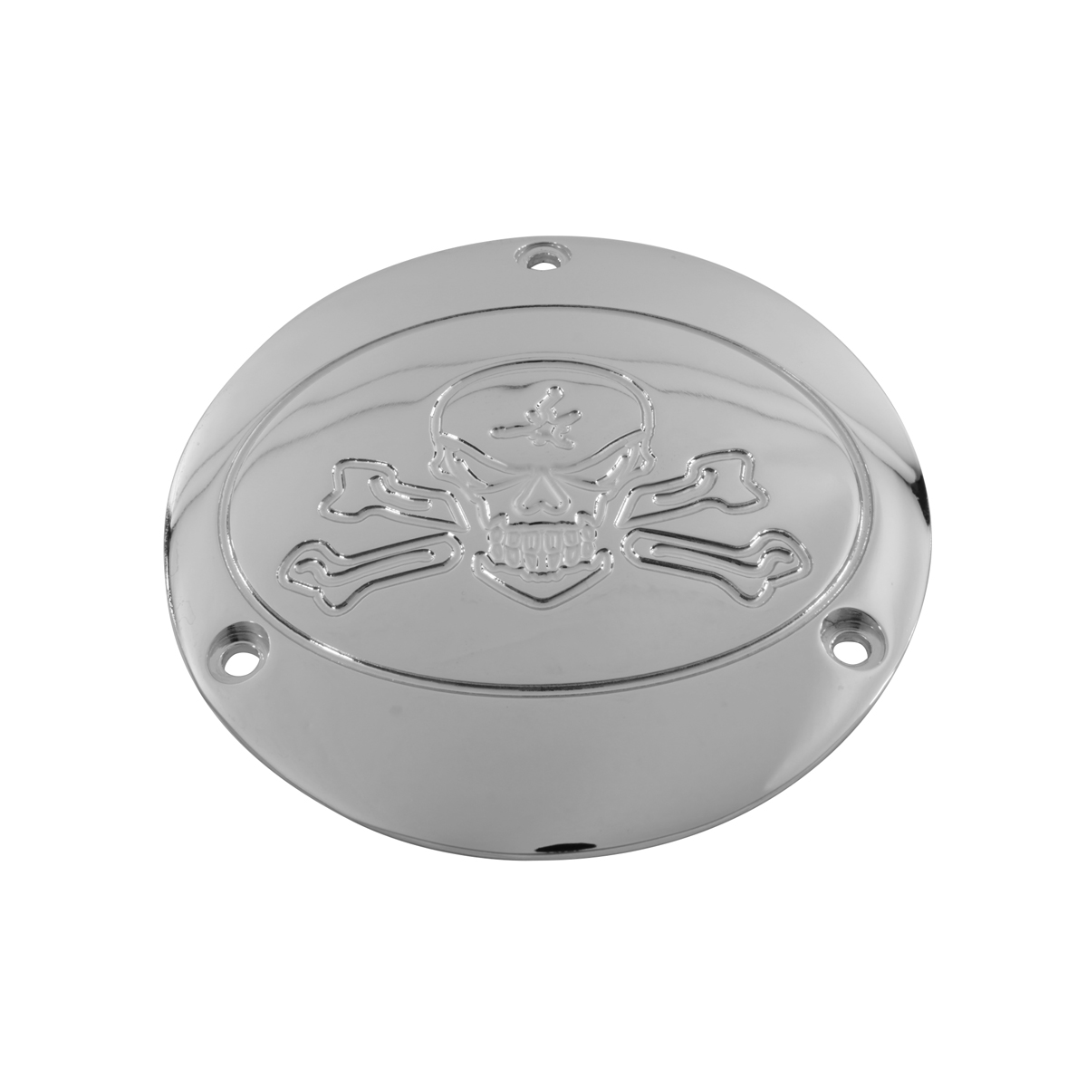 V-Twin Manufacturing Chrome Bone Head Derby Cover for Big Twin