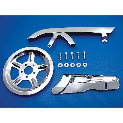 V-Twin Manufacturing Rear Belt Guard and Pulley Dress Up Kit