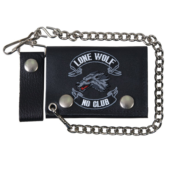 Hot Leathers Lone Wolf Tri-Fold Leather Wallet