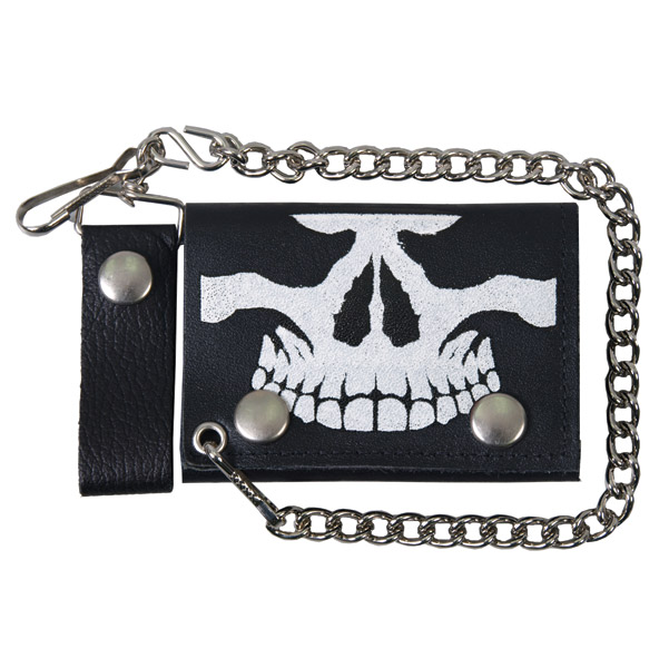 Hot Leathers Skull Jaw Tri-Fold Leather Wallet