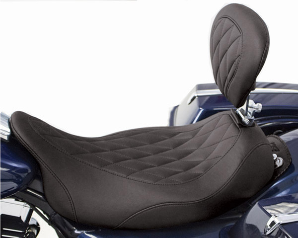 Mustang Wide Tripper Solo Seat with Diamond Stitching and Backrest