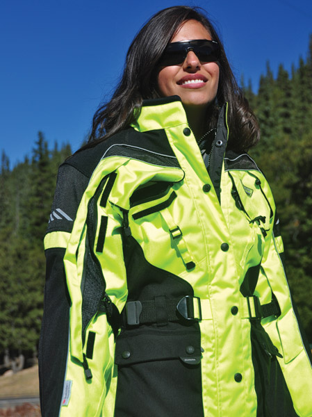 Olympia Moto Sports Ladies Neon-Yellow AST 2 Touring Jacket