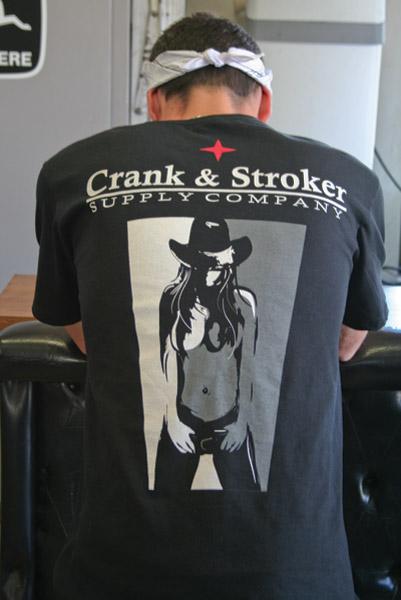 Crank & Stroker Supply Men's Cowgirl Black T-Shirt