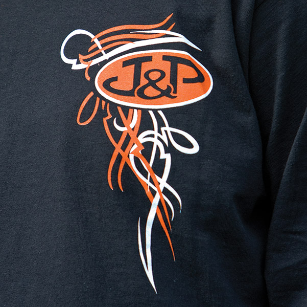 J&P Cycles® Old School Black Long-Sleeve Pinstripe T-Shirt