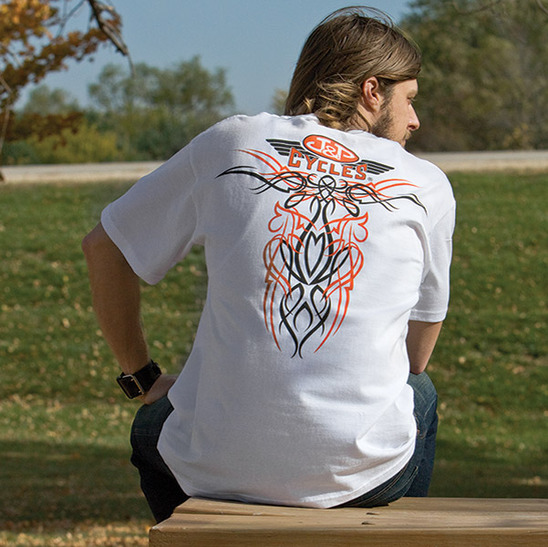 J&P Cycles® Old School White Short-Sleeve Pinstripe T-Shirt