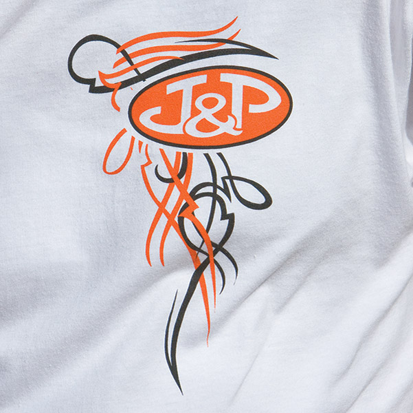 J&P Cycles® Old School White Short-Sleeve Pinstripe T-Shirt