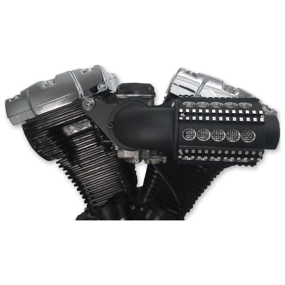 Custom Motorcycle Air Cleaners : D m custom cycle black machine gun power flow air cleaners