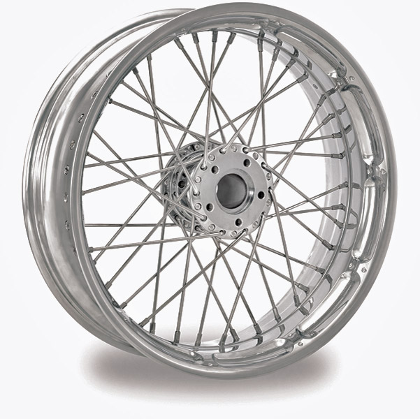 Performance Machine Spoked Wire Chrome Front Wheel, 18