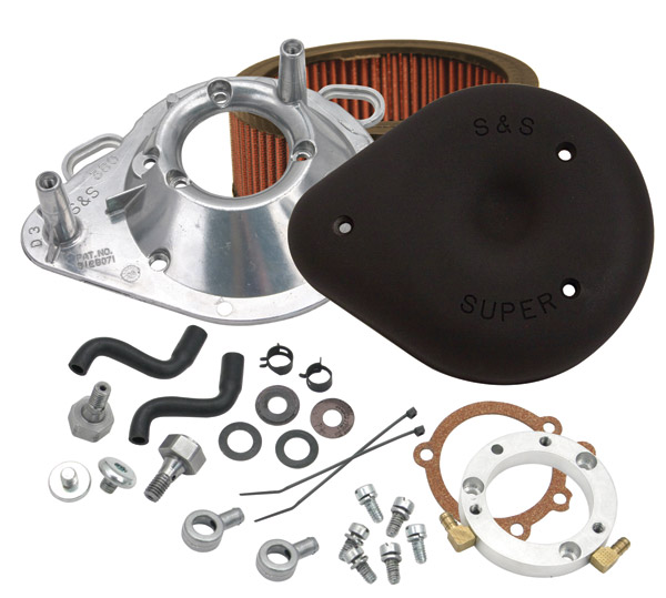 S&S Cycle Black Air Cleaner Kit for Stock CV/EFI Big Twin Models