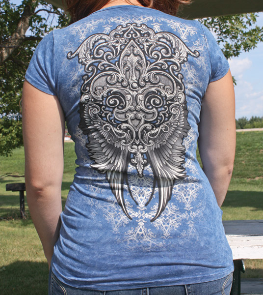 Liberty Wear Women's Fleur-De-Lis Blue T-shirt