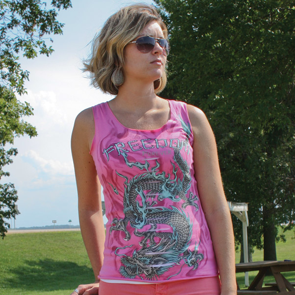 Liberty Wear Women's Freedom Forever Slashed Pink Tank Top