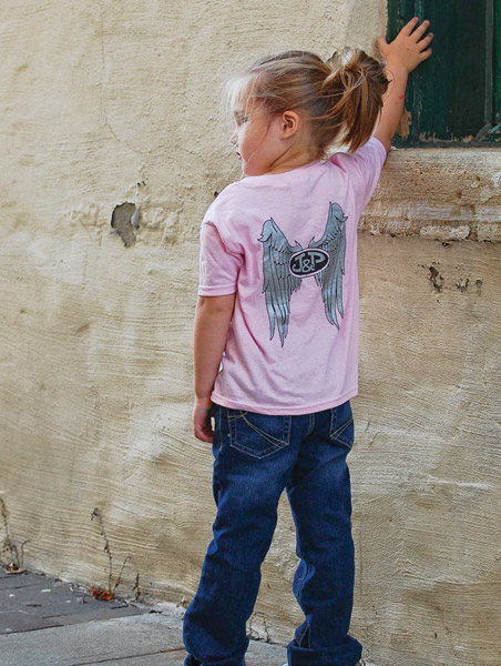 J&P Cycles® Girls Pink Angel T-shirt