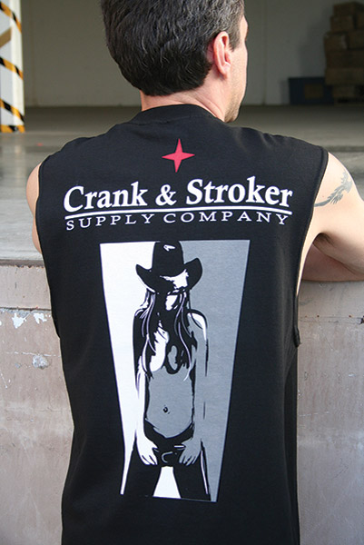 Crank & Stroker Supply Cow Girl Sleeveless T-shirt