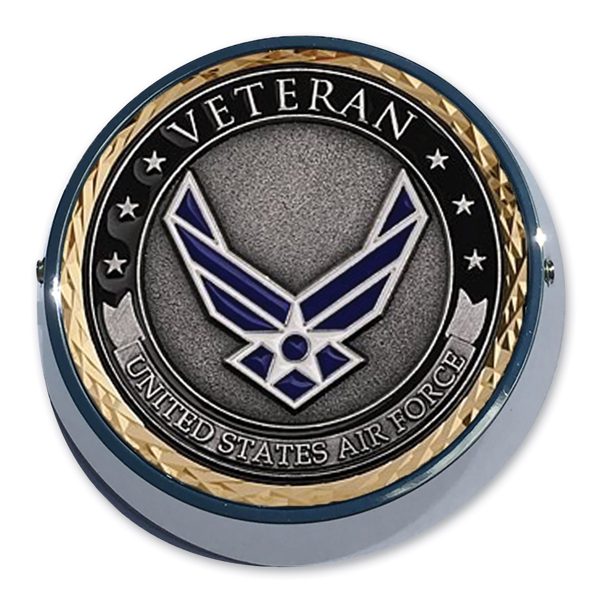 Motordog69 Universal Coin Mount with Air Force Veteran Coin