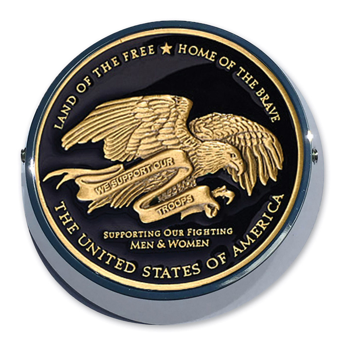 Motordog69 Universal Coin Mount with Thank You Troops Coin