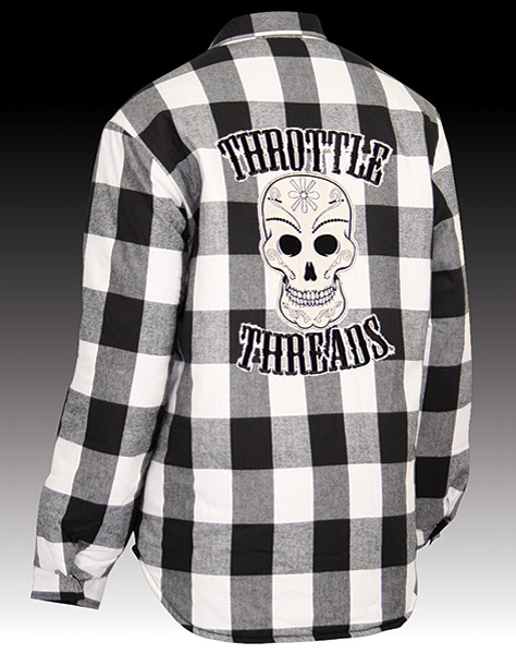 ThrottleThreads Men's Los Muertos Black/White Flannel Shirt