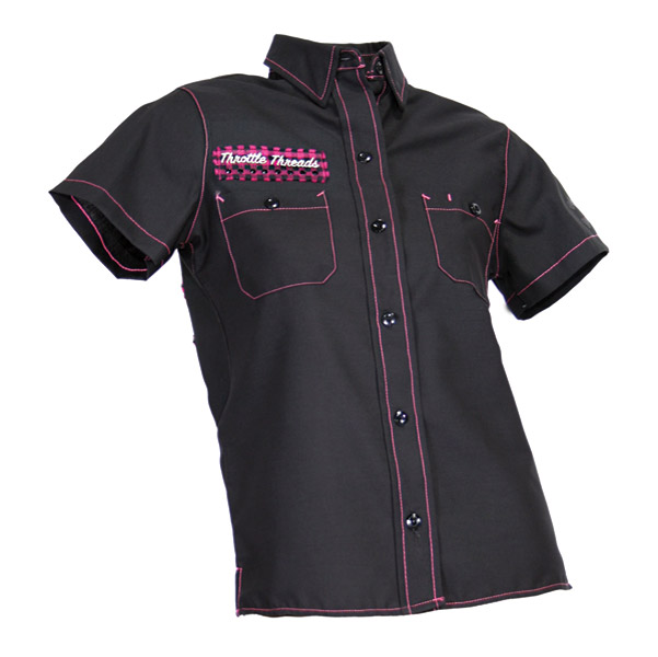 ThrottleThreads Women's Bunky Black Shop Shirt