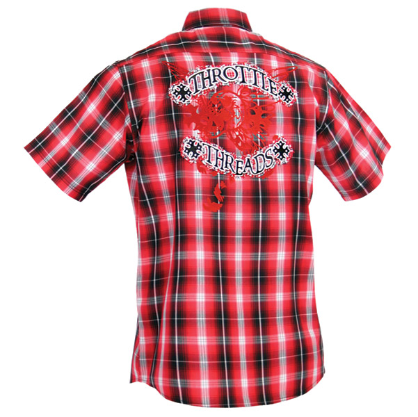ThrottleThreads Women's Red Kilted Shop Shirt