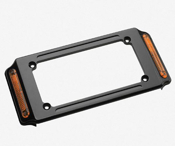 J&P Cycles® Black License Plate Frame With Marker Lights