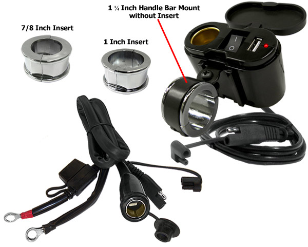 Eklipes Black Cobra USB and 12 Volt Socket Charging System