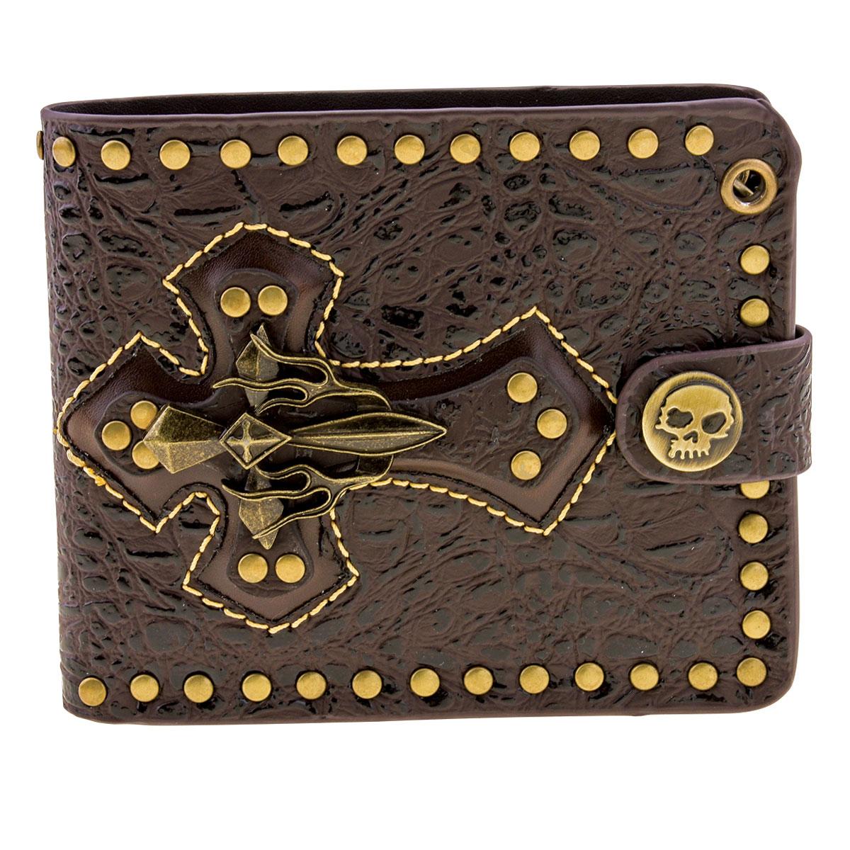 AMiGAZ Brown Cross Bi-Fold Leather Wallet