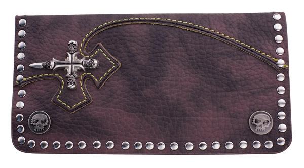 AMiGAZ Brown Cross Leather Biker Wallet