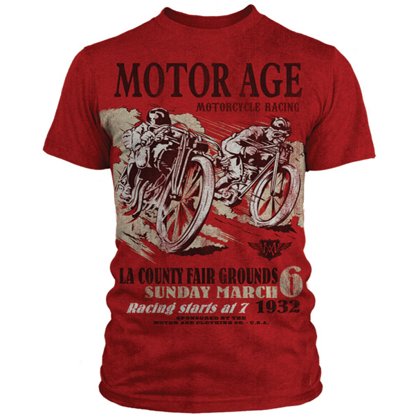 Motor Age Men's LA Race Day Vintage Red T-shirt