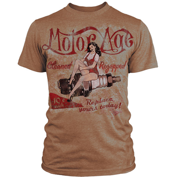 Motor Age Men's Cleaned and Regapped Vintage Tan T-shirt