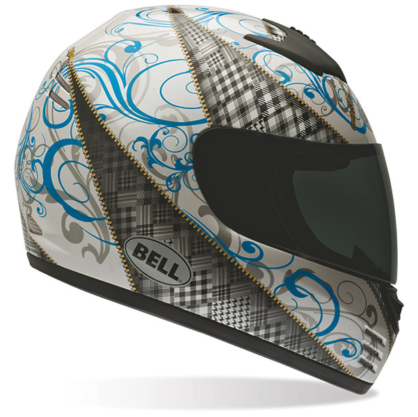 Bell Zipped Arrow White and Blue Full Face Helmet