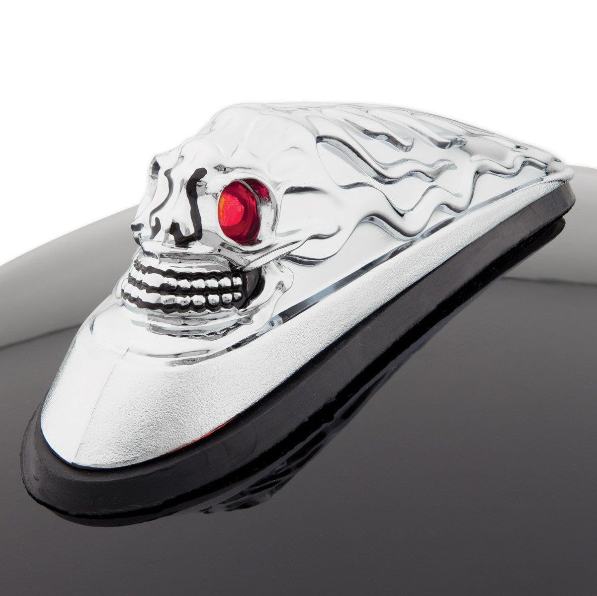 J&P Cycles® Skull head Front Fender Ornament with Illuminated Eyes