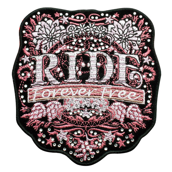Hot Leathers Mod Art Ride Forever Embroidered Patch w/Rhinestones