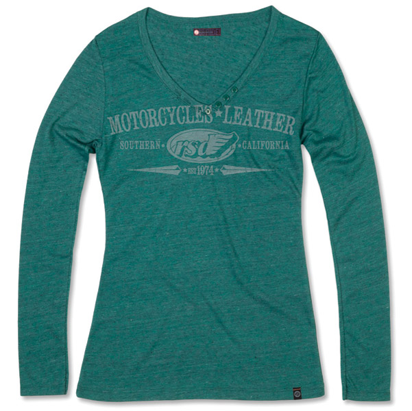 Roland Sands Design Long-Sleeve Heather Teal Green Vee Neck T-shirt