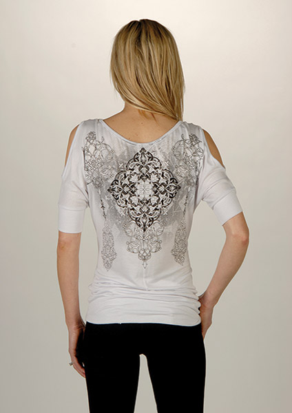 Liberty Wear Women's Embellished White Open Shoulder Top