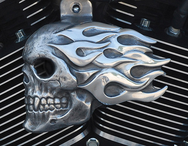 Chrome Dome Aged Aluminum Flaming Skull Horn Cover