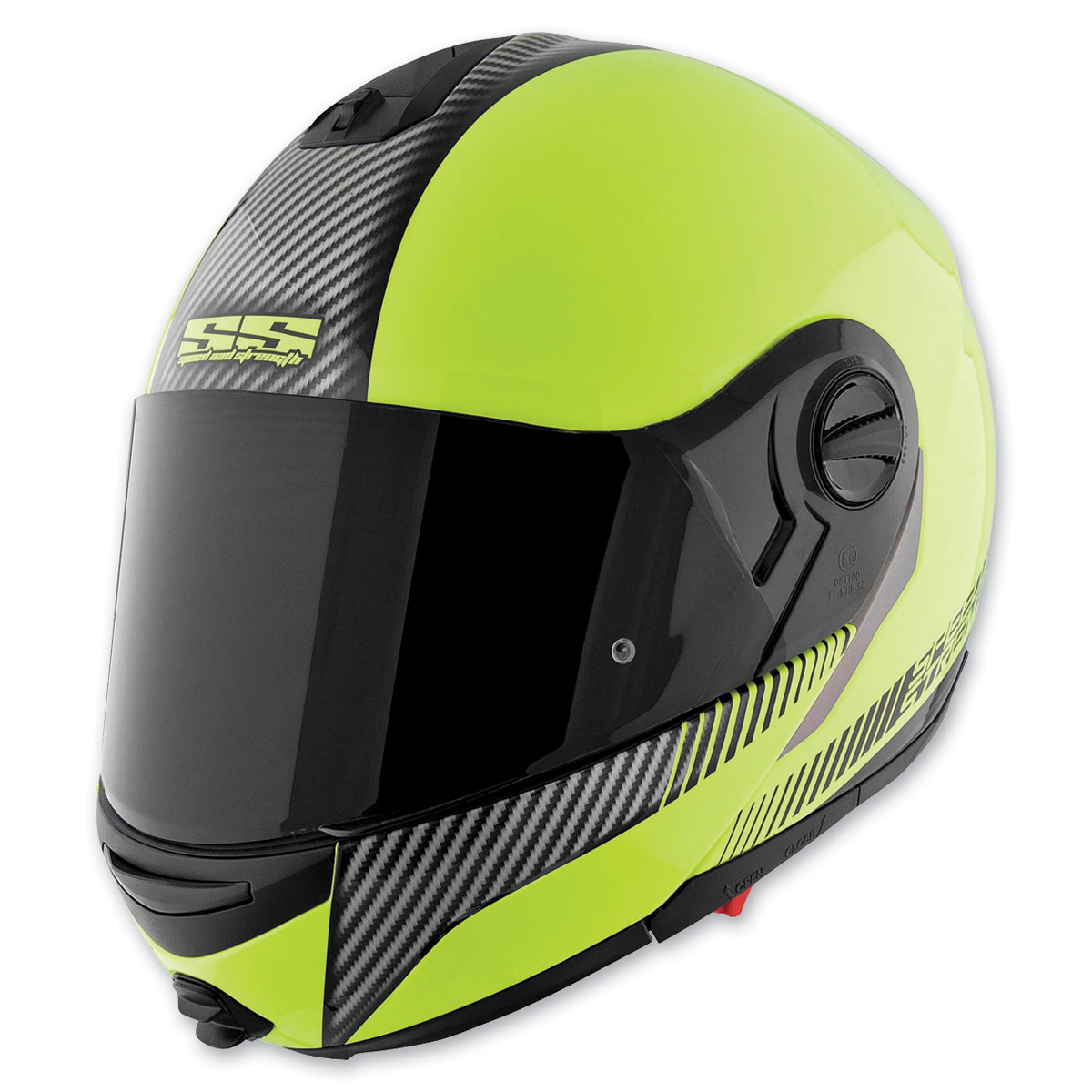 Speed and Strength Hi-Viz Yellow Carbon Lock and Load SS1700 Helmet