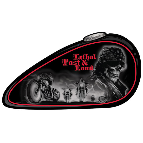 Lethal Threat Lethal, Fast, Loud Metal Gas Tank Sign