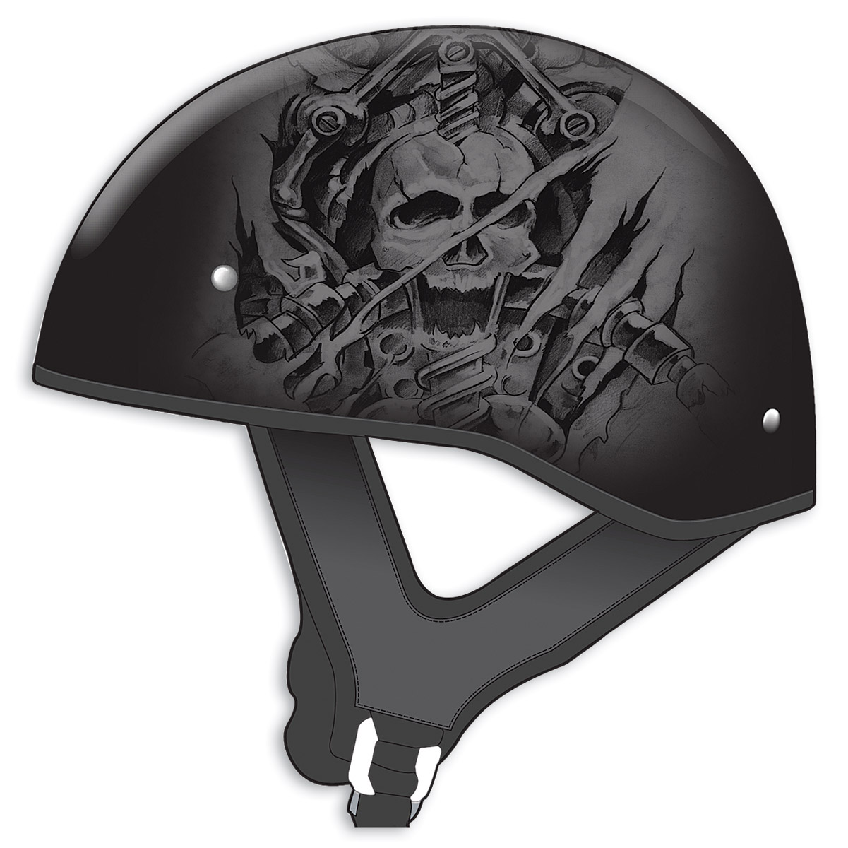 GMAX GM65 Naked Tormentor Flat Black/Silver Half Helmet