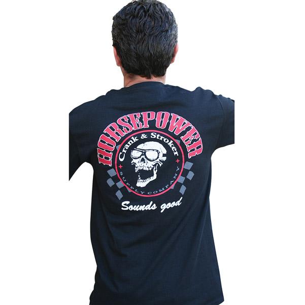 Crank & Stroker Supply Men's Horsepower Black T-Shirt