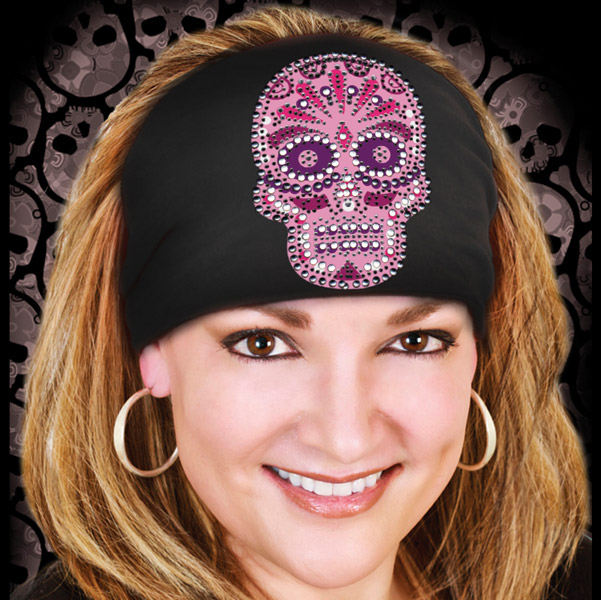 That's A Wrap Pink on Black Candy Skull Premium Knotty Band