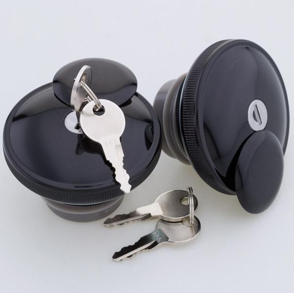 J&P Cycles® Black Screw-In Locking Gas Cap Set