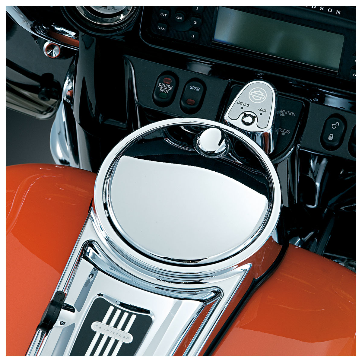 Kuryakyn Chrome Push Button Fuel Door Latch Hinge Kit Harley Touring /'92-/'17