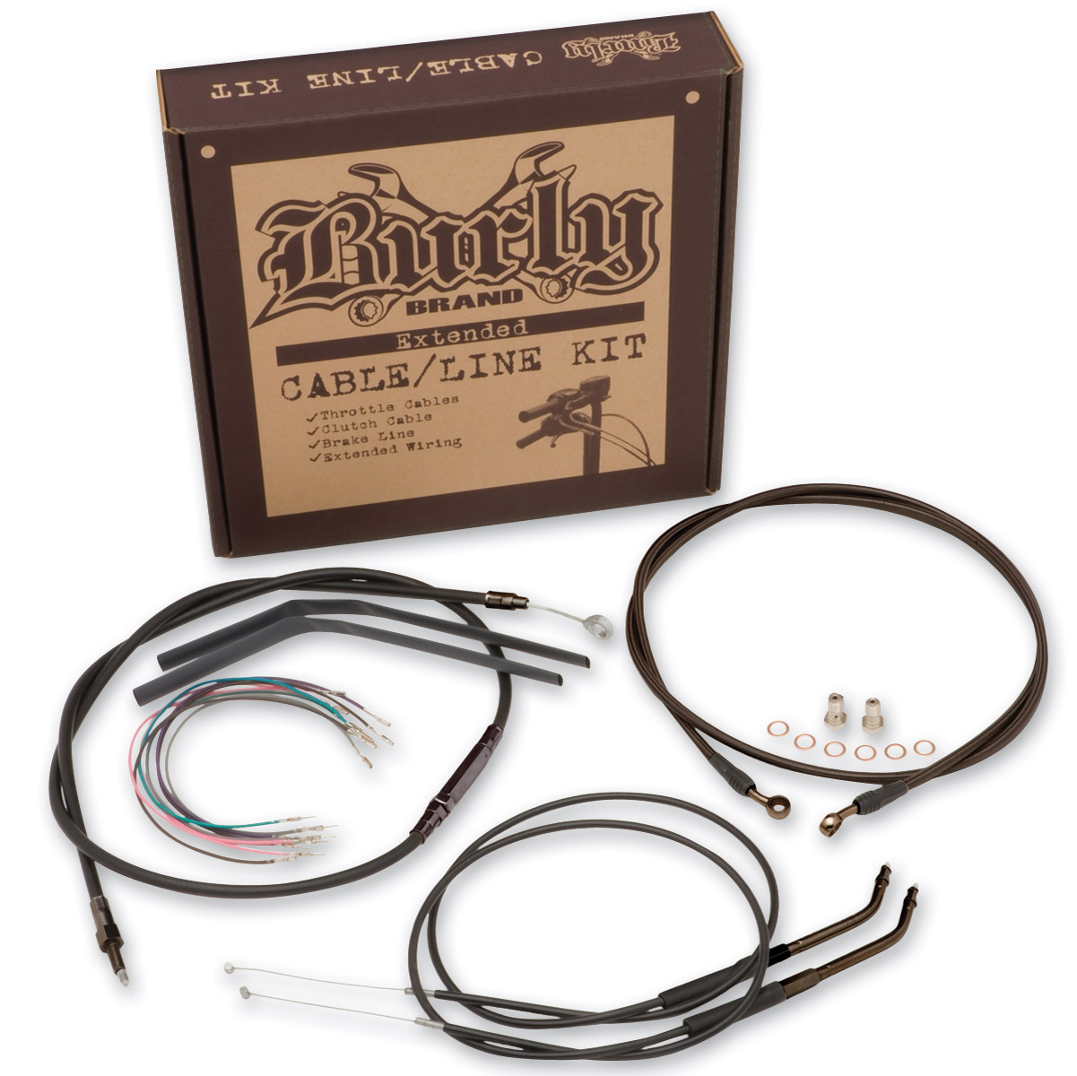 Burly Brand Black 16″ Ape Hanger Cable/Brake Kit