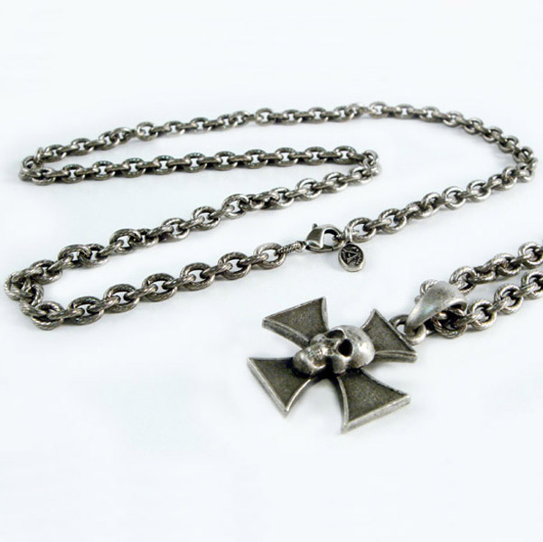 AMiGAZ Small Hack Link Necklace w/Skull Iron Cross