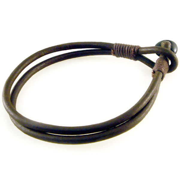 AMiGAZ Brown Antique Leather Cord Bracelet