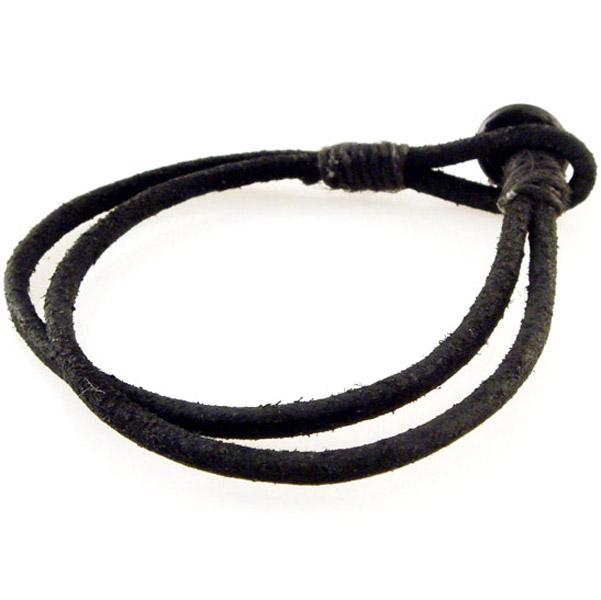 Amigaz Black Antique Leather Cord Bracelet