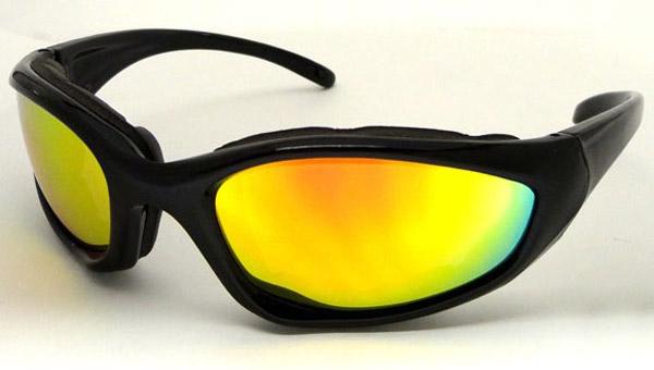 Chap'el C-22 Black Frame/Red Revo Lens Padded Sunglasses