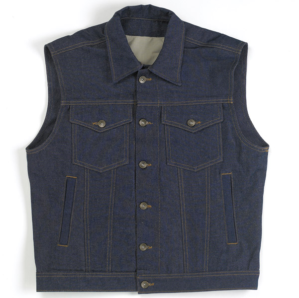 Biltwell Inc. Men's Denim Collared Indigo Vest