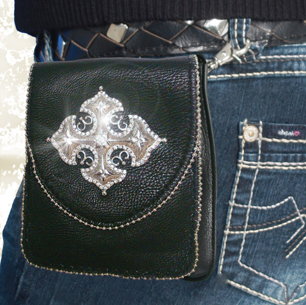That's A Wrap Leather Big Metal Cross Bag w/Chain